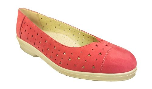 Faye slip on classic look summer ladies shoe from Padders. Red plush suede